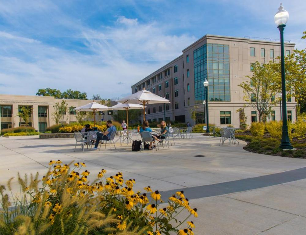 The newly opened East Campus Commons features event space, classrooms, and housing, all surrounding the largest new conference space at Constitution Hall.