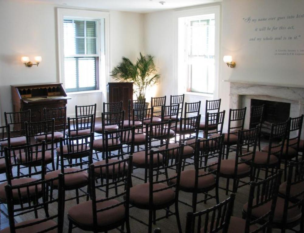 The Emancipation Room, formerly President Lincoln's Bedroom, also serves as a majestic backdrop for lectures and presentations.