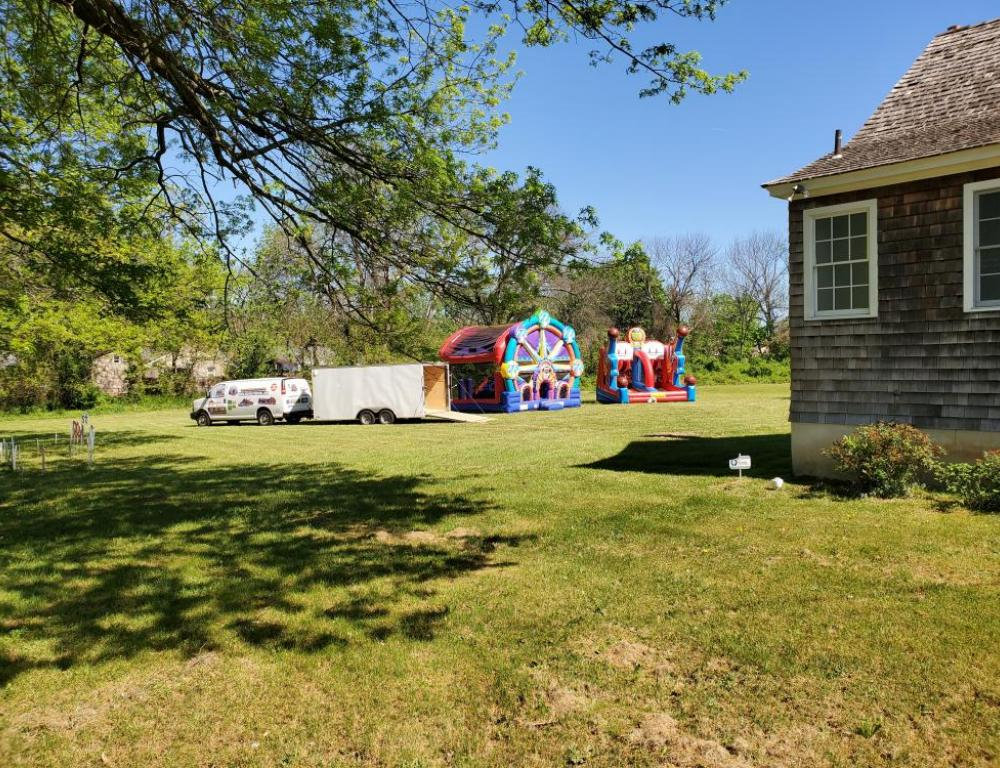 Field with Bouncy House