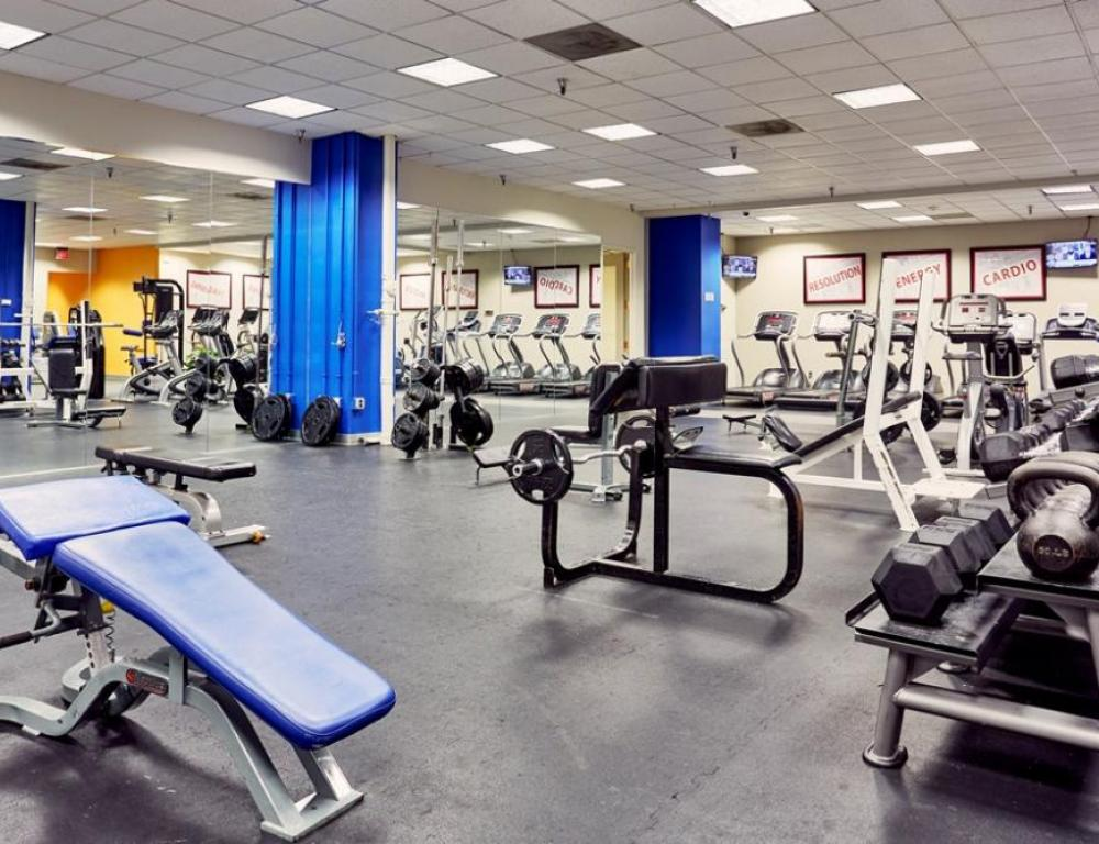 State-of-the-art Fitness Center open 24/7 with cardio, cycling, weights, yoga studio and 72 on-demand workouts.