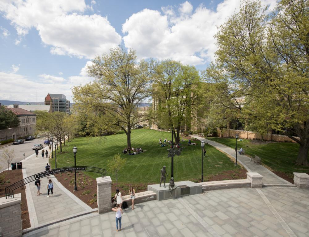 Founder's Green, just one of the many green spaces on campus, is perfect for recreational activities.