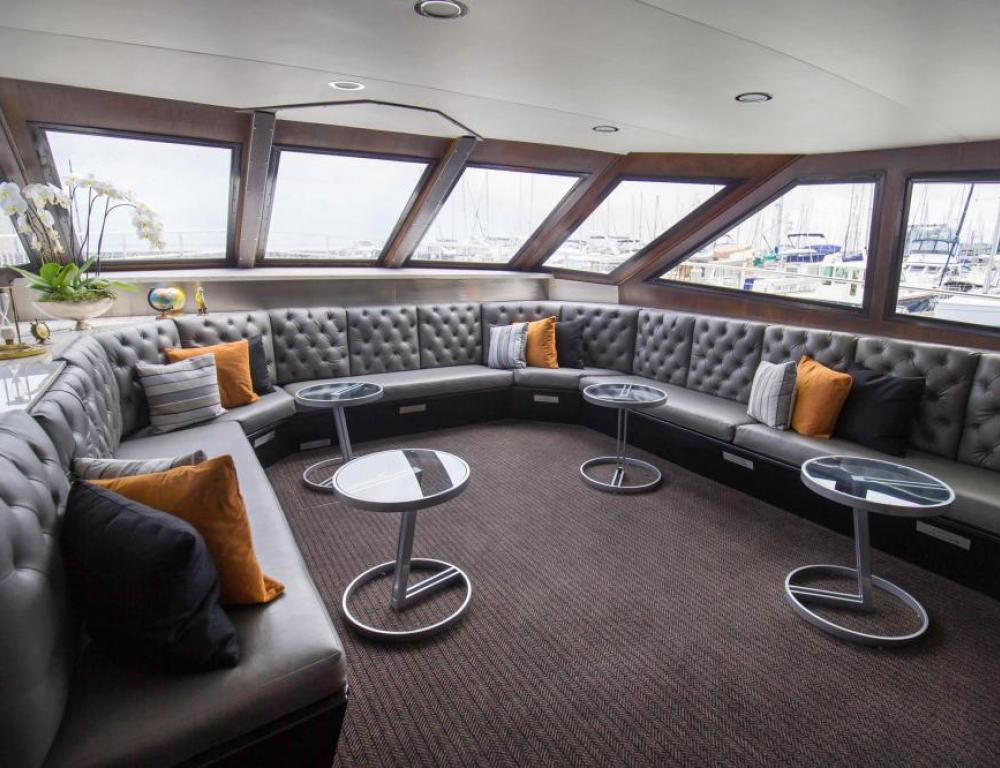 Inside the spacious yacht California Spirit