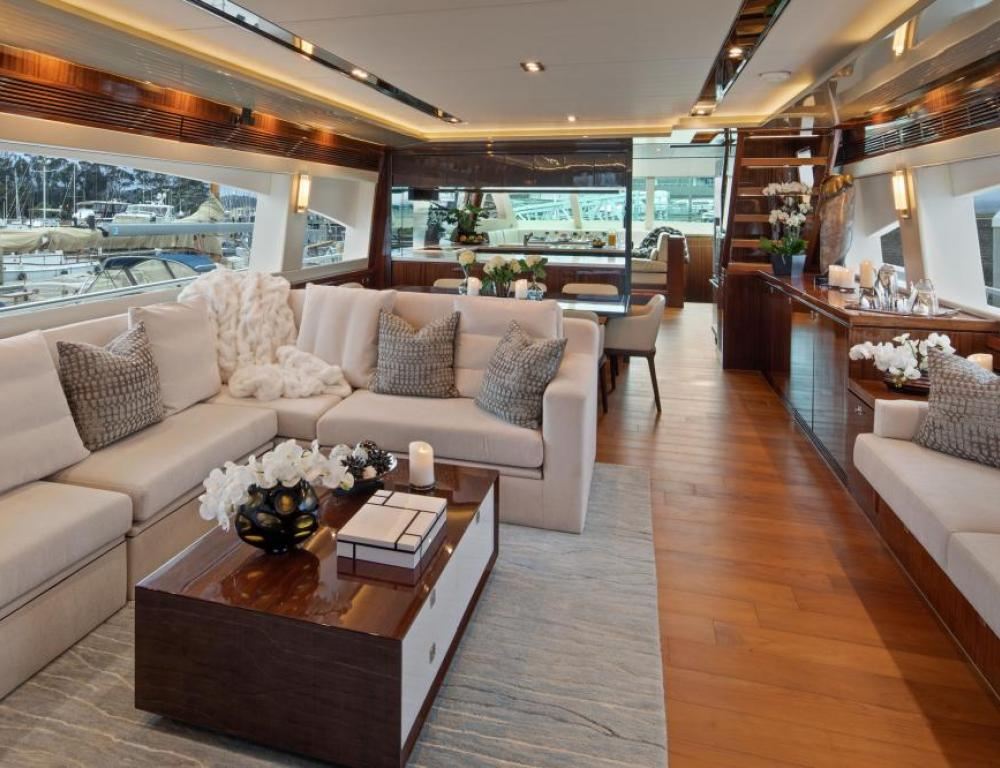 The glamorous interior of the Diamond Seas yacht