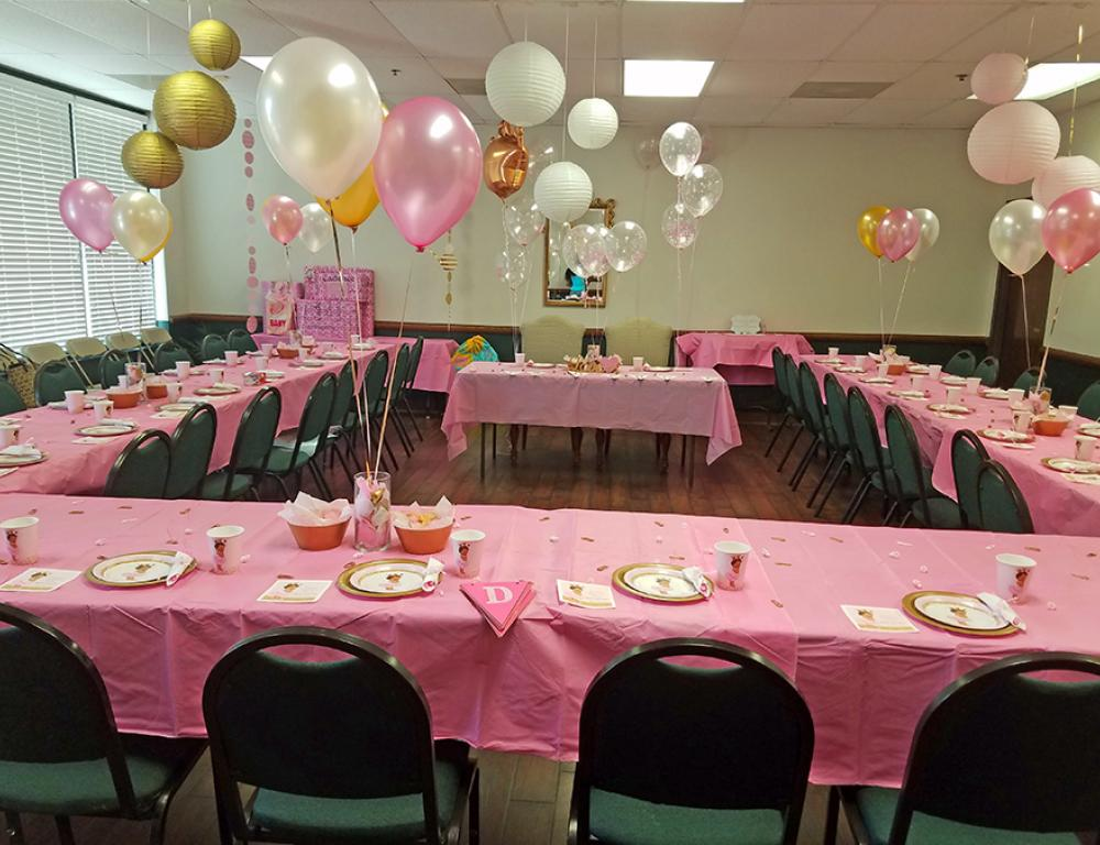 The Legacy Room: Bridal Showers/Luncheons and Baby Showers. Seats up to 50 people.