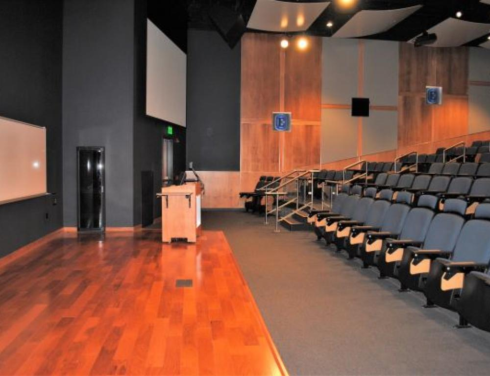 Masters Center: Gibble Auditorium. Renovated in 2014, Gibble Auditorium, located in Esbenshade Hall is an ideal venue for large conferences, film showings, or speakers. Graduated seating and a surround sound audio system make presentations enjoyable by all in attendance. The front stage is equipped with a smart podium with computer access, audio and visual hookups, and projection capabilities.