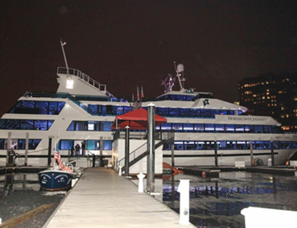 One of the largest Hudson Harbor yachts at the dock, awaiting guests