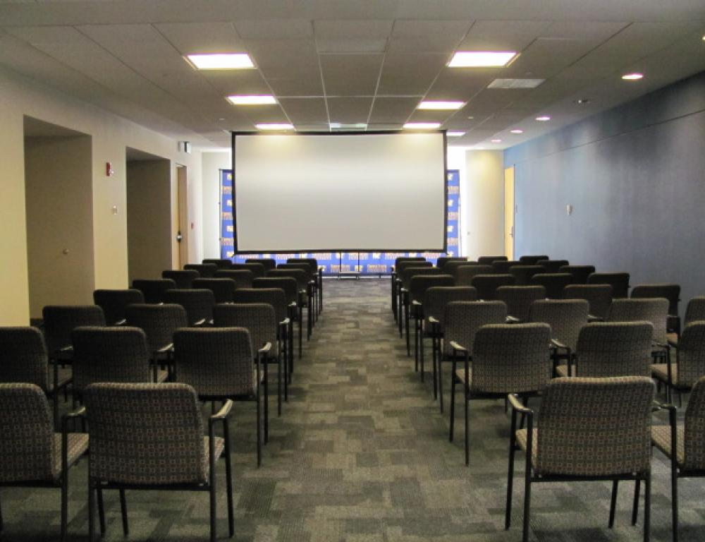 The Talon Center Atrium can host up to 135 guests in a theater style setup.