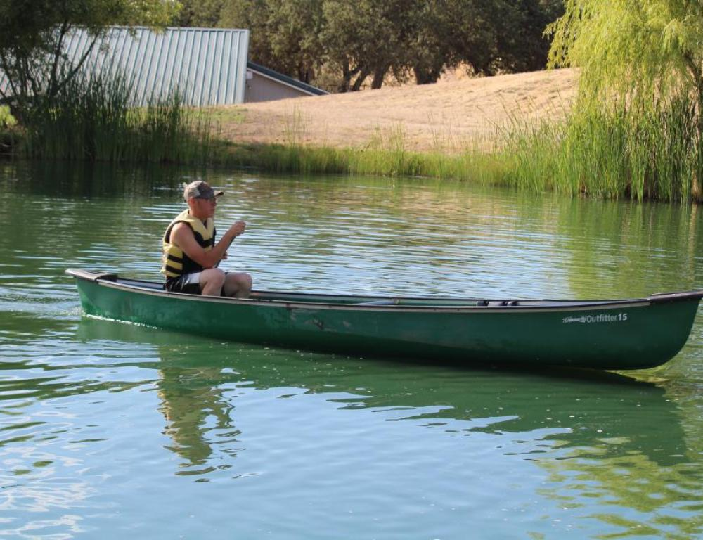 Canoeing in pond - free rentals!