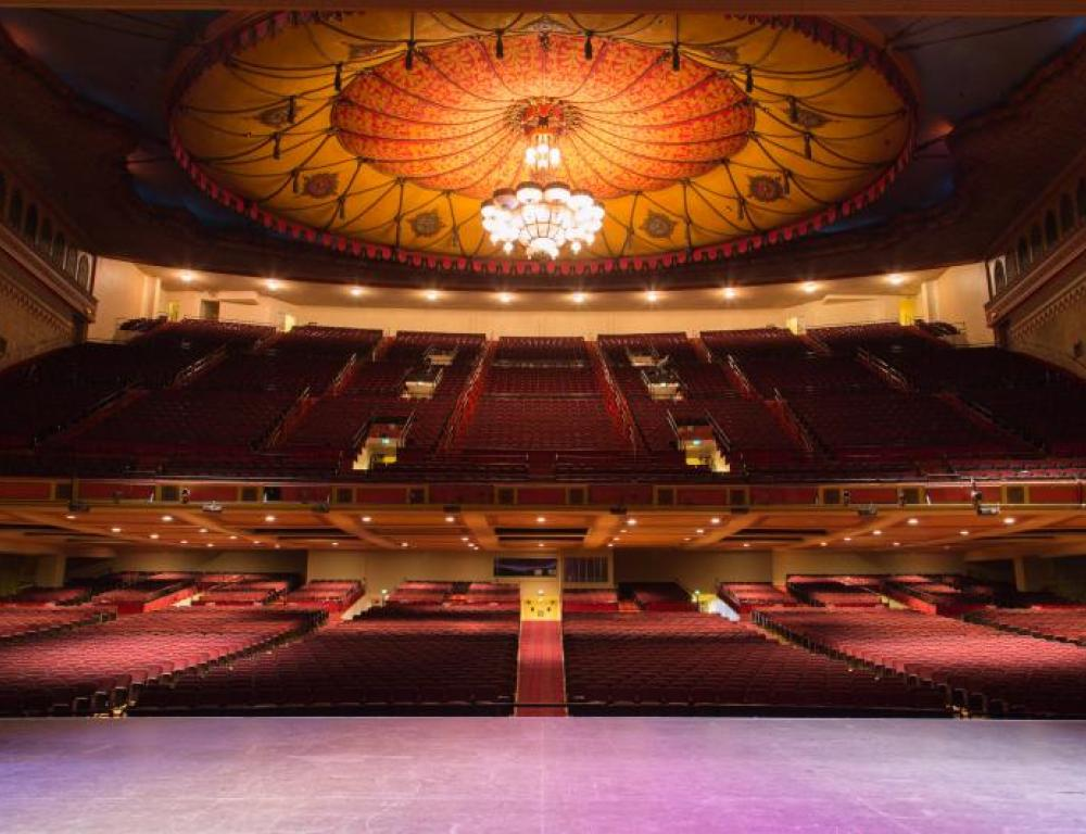 Shrine Auditorium Stage - view from stage - beautiful chandelier; historical, iconic LA atmosphere