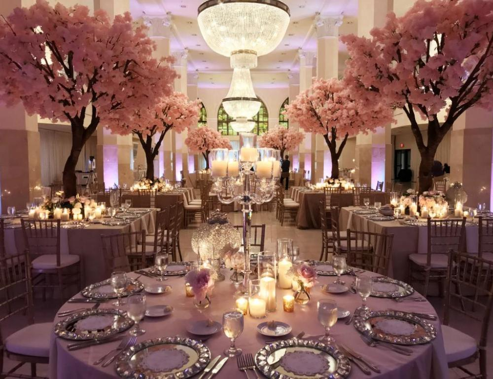 Gorgeous wedding reception with 12 ft tall cherry blossom trees in Whitehall
