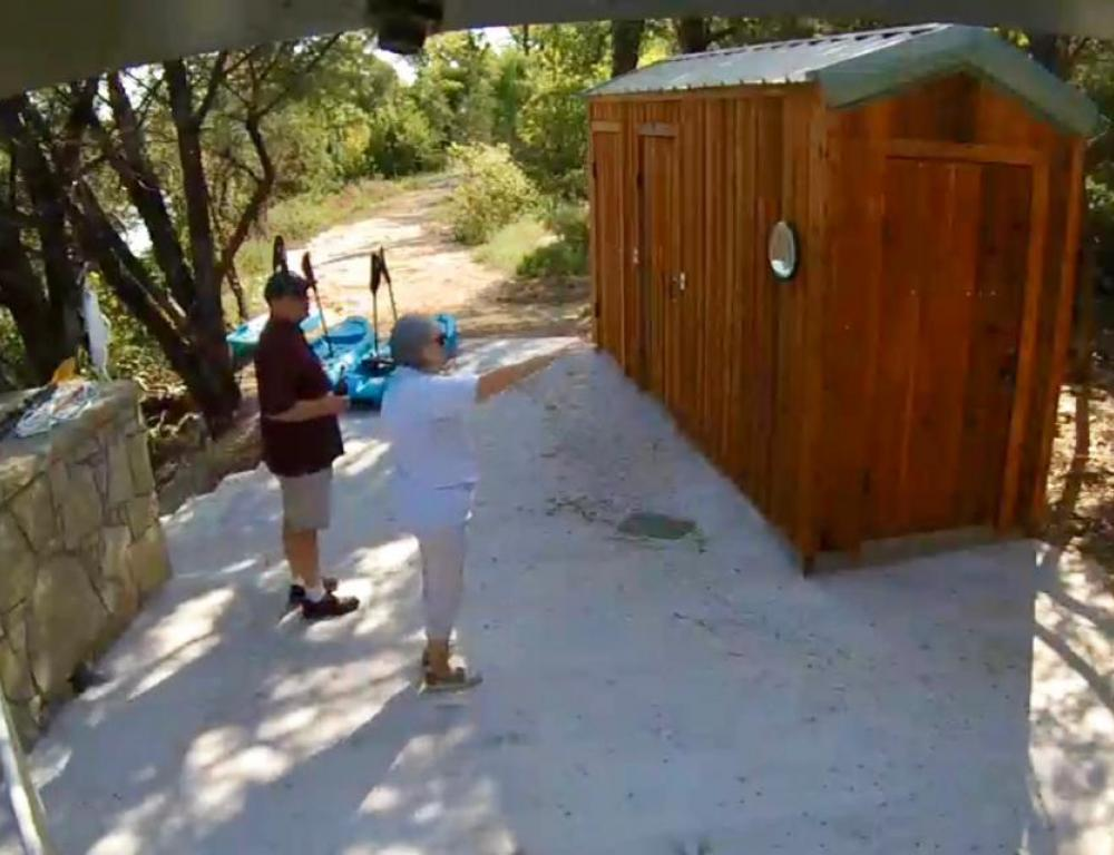 Trail restroom and shower building at water slide