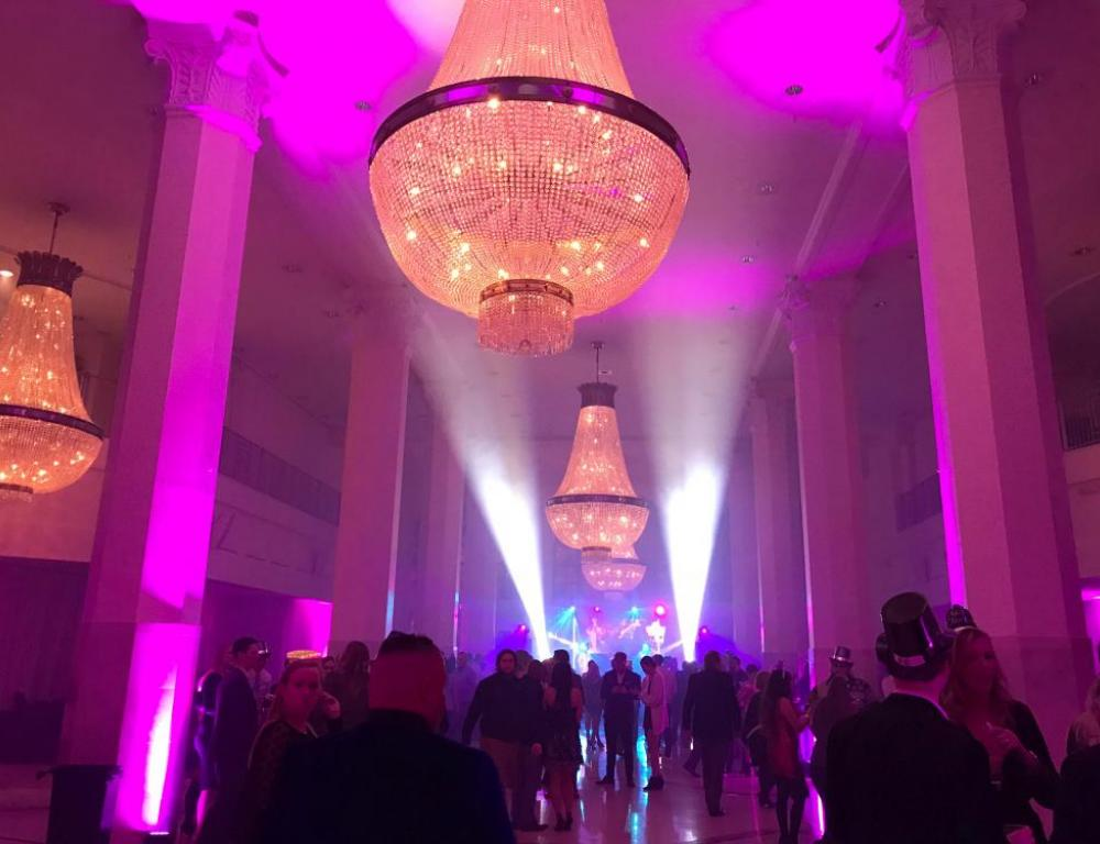 Fun lighting during a New Years Eve party in Whitehall Ballroom