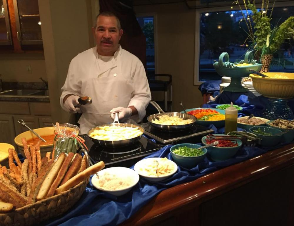Chef is ready for his next guest on a Hudson Harbor yacht