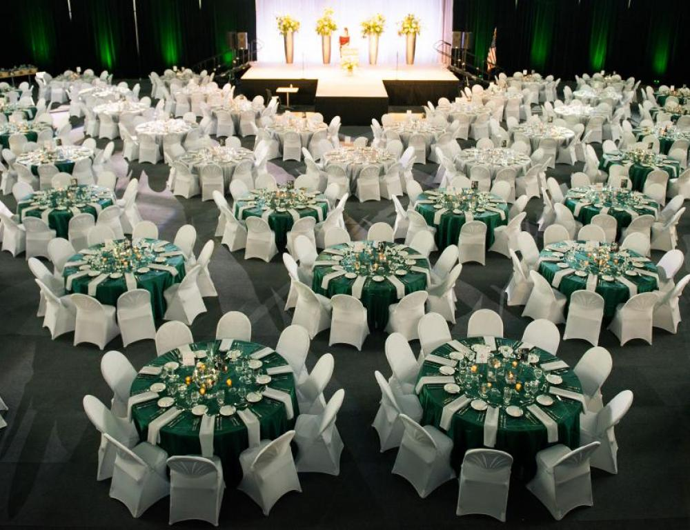 Viking Pavilion Arena can host a banquet for hundreds.