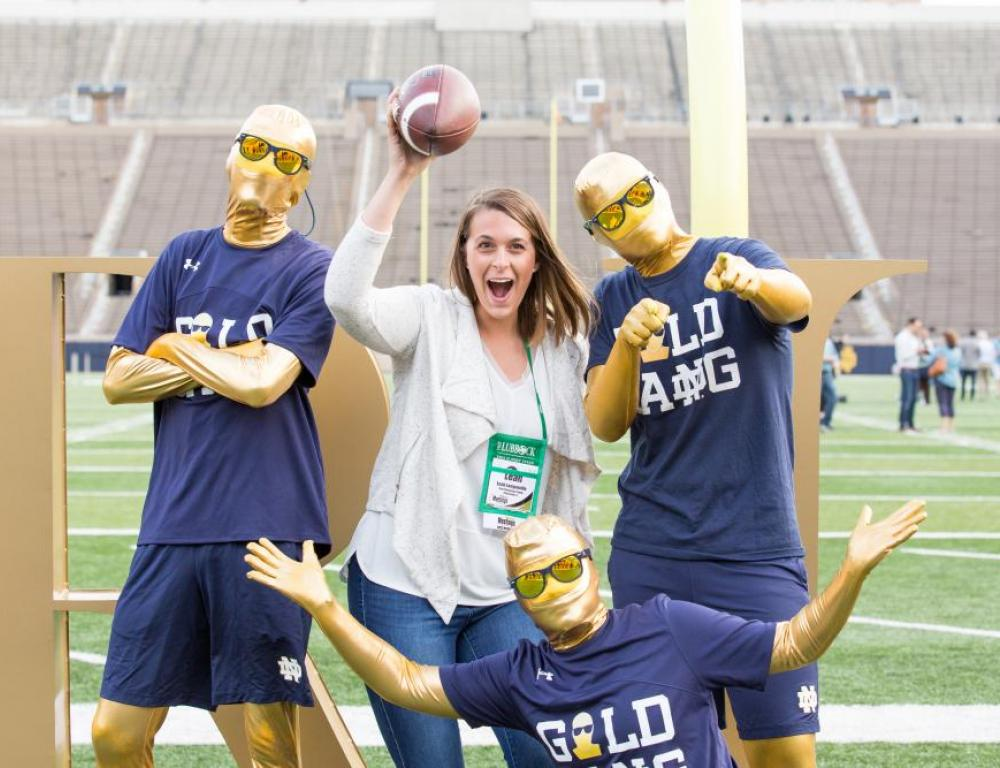Group experiences on the field at Notre Dame Stadium