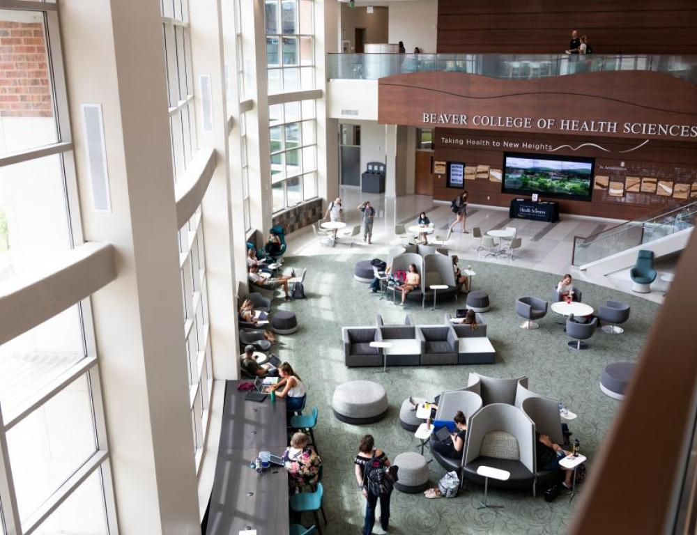 The Leon Levine Health Sciences building has a beautiful atrium perfect for casual receptions and the building features a large lecture hall and smaller meeting spaces.