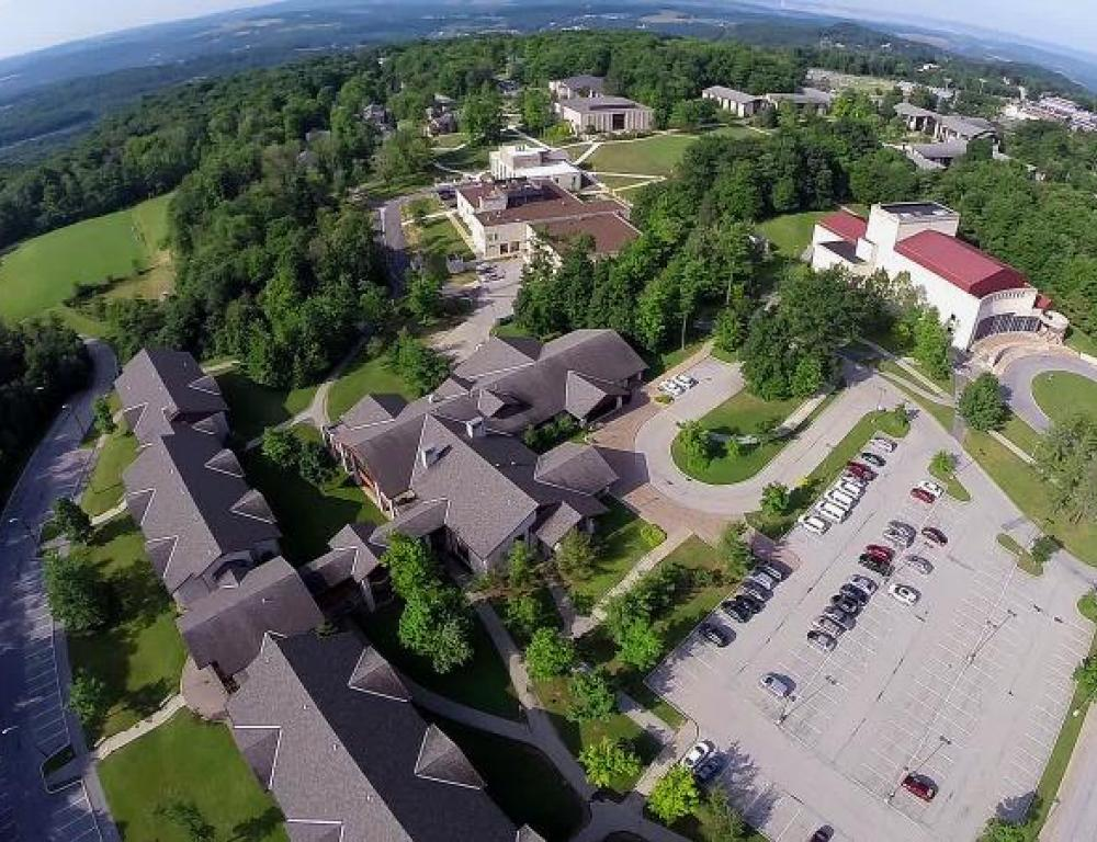 Aerial view of Living/Learning Center and Pasquerilla Performing Arts Center