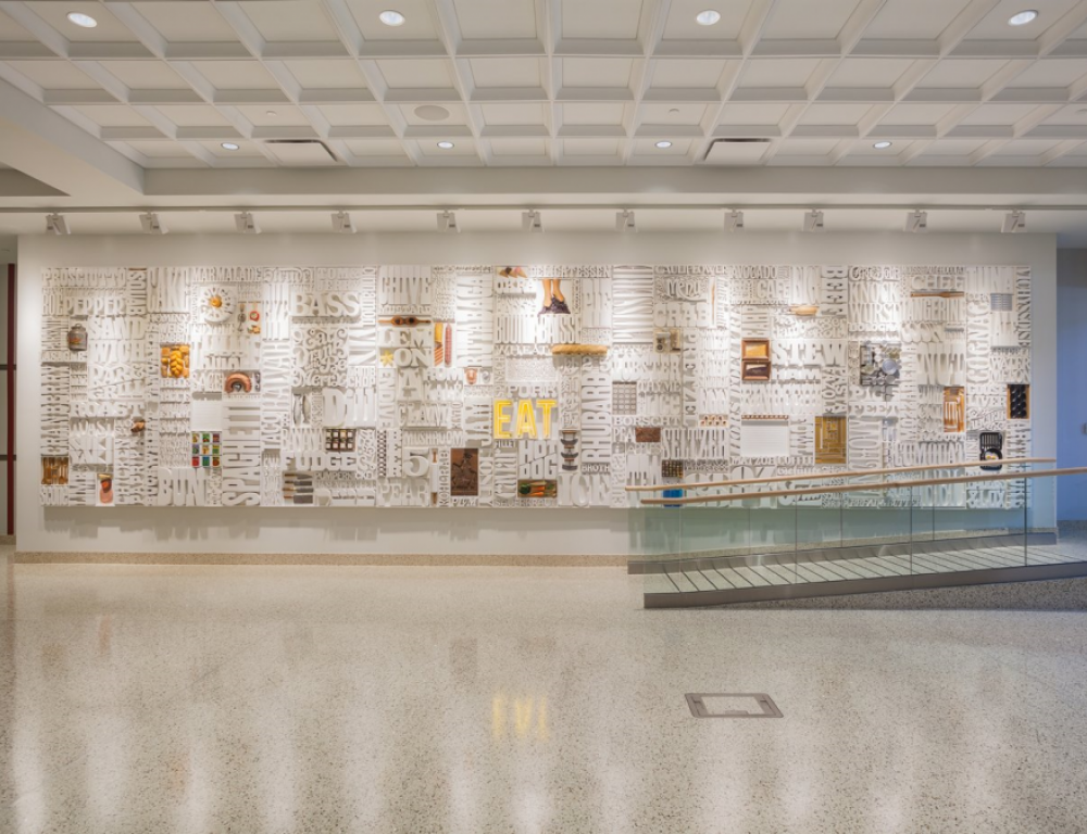 """Gastrotypographicalassemblage aka """"Lou's Wall"""" in the Marriott Conference Center"""