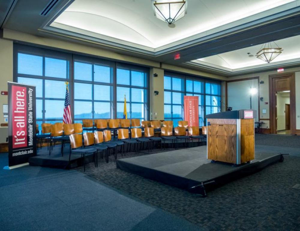 The Conference Center Ballroom set with a podium and stage