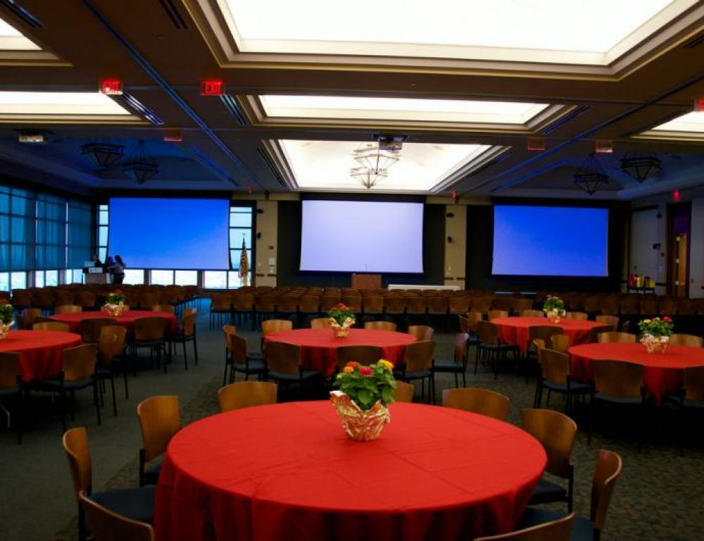 The Conference Center ballroom set for a more casual event