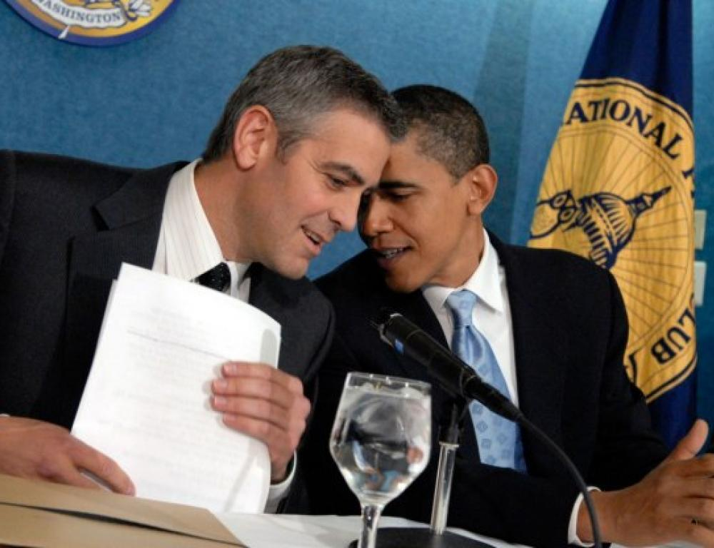George Clooney and Barack Obama at The National Press Club