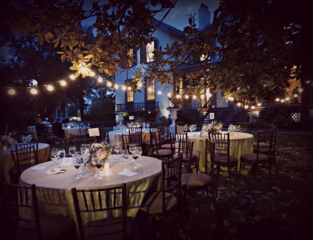 An outdoor dinner. Perfect for springs, summer and fall corporate gatherings or wedding receptions.