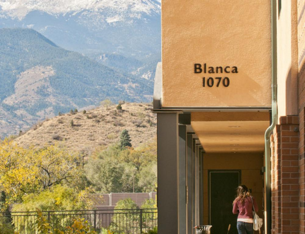 Blanca Apartments Building and a beautiful view of Pike's Peak