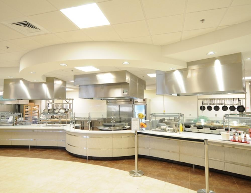 Offering a variety of dining options and seating areas, SNHU's Dining Center is an affordable option