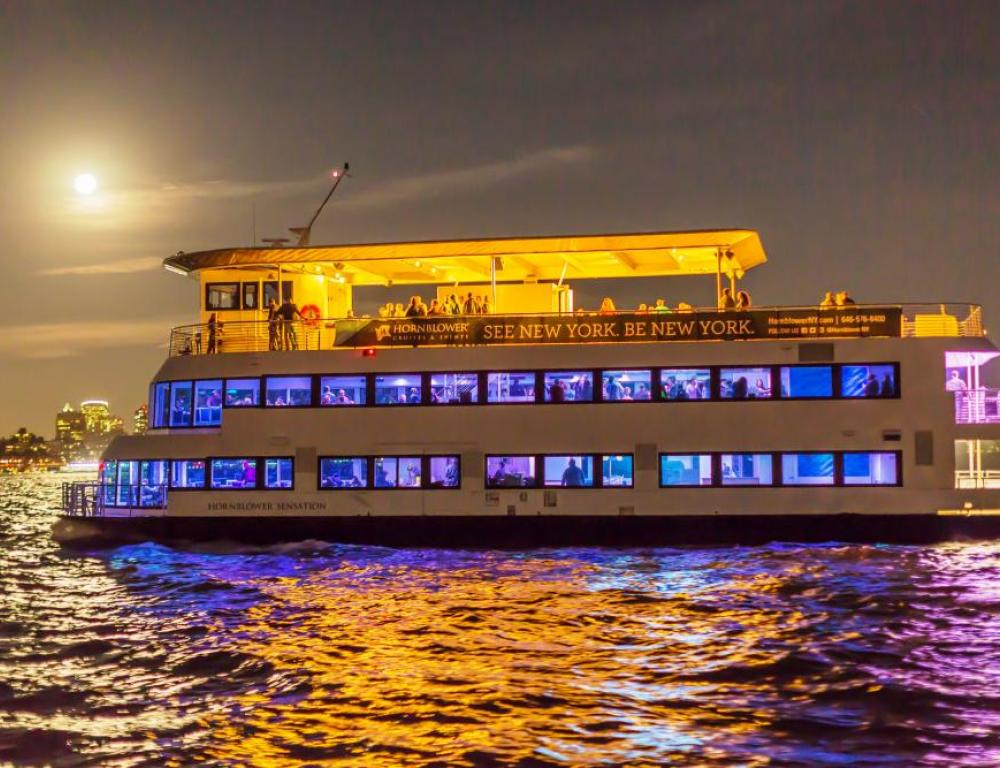 Celebrating by Moonlight aboard a Hudson Harbor yacht