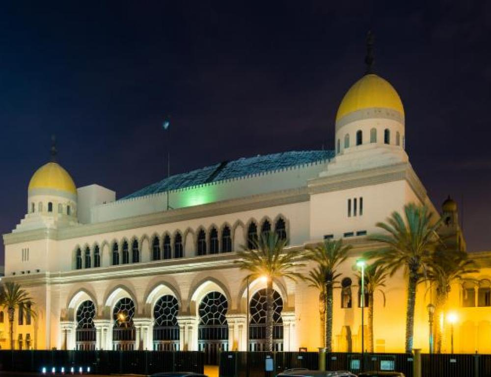 Shrine Auditorium and Expo Hall lit up at night