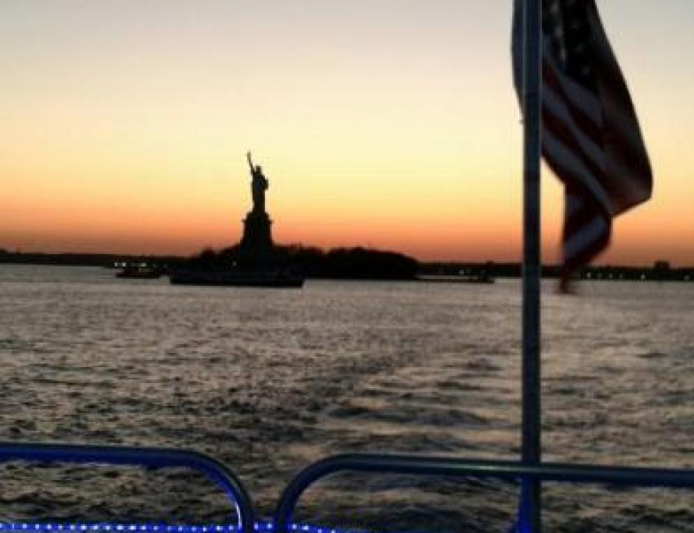 Approaching the Statue of Liberty on the Hudson Harbor