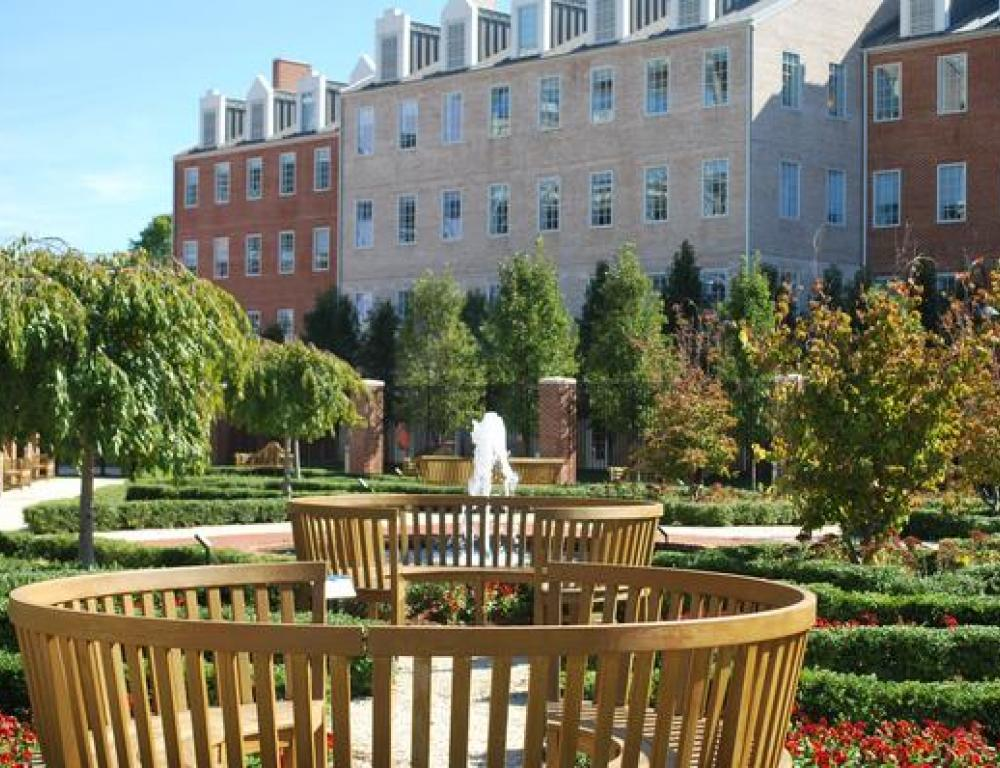 The beautiful Moxley Gardens at the Samuel Riggs IV Alumni Center.