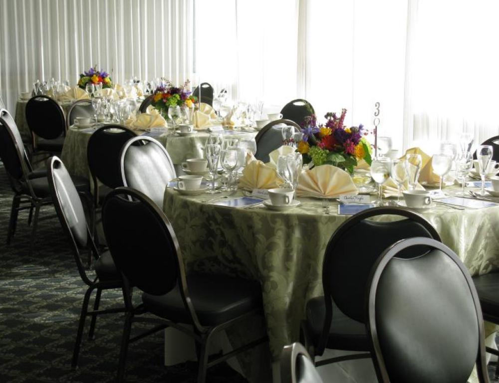 2 large dining rooms seating up to 175 guests for a seated meal, menu and decorating consulting provided by your event coordinator