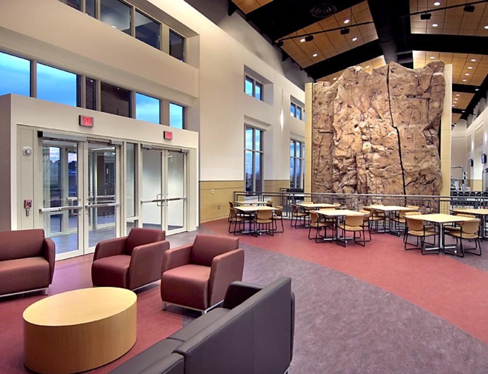 YHC Recreation Center Lobby & Rock Wall