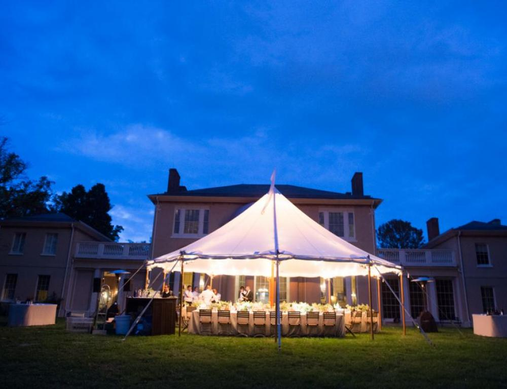 Luxurious outdoor dinner on Tudor Place historic lawn