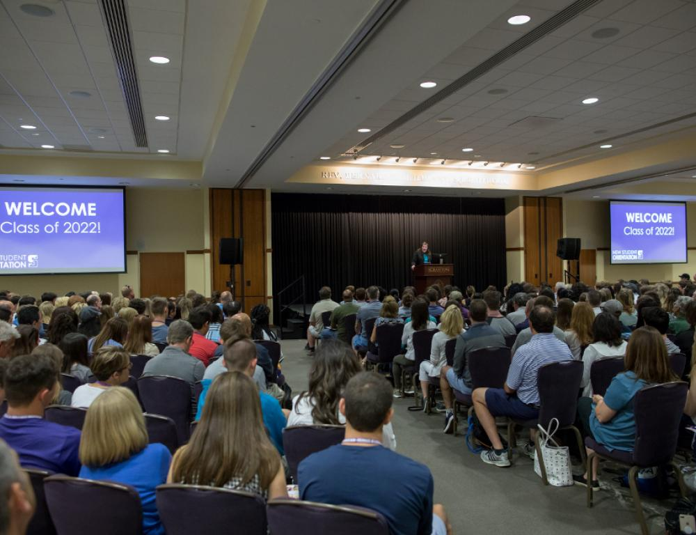 The McIlhenny Ballroom on the fourth floor of the DeNaples Center is a multi-purpose space that can be used for anything from lectures to banquets to trade shows.