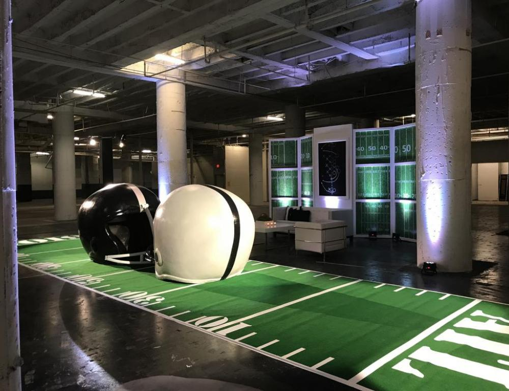 Football display in The Cellar (before renovation, grand opening December 2019)