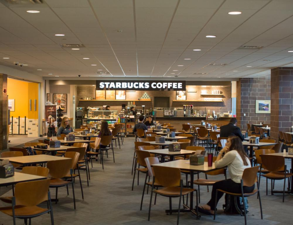 The recently-renovated food court on the first floor of The DeNaples Center.