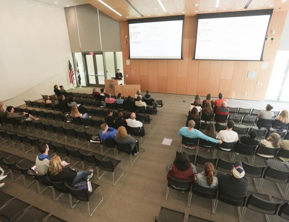 The Kane Forum in Leahy Hall is a fully mediated meeting space