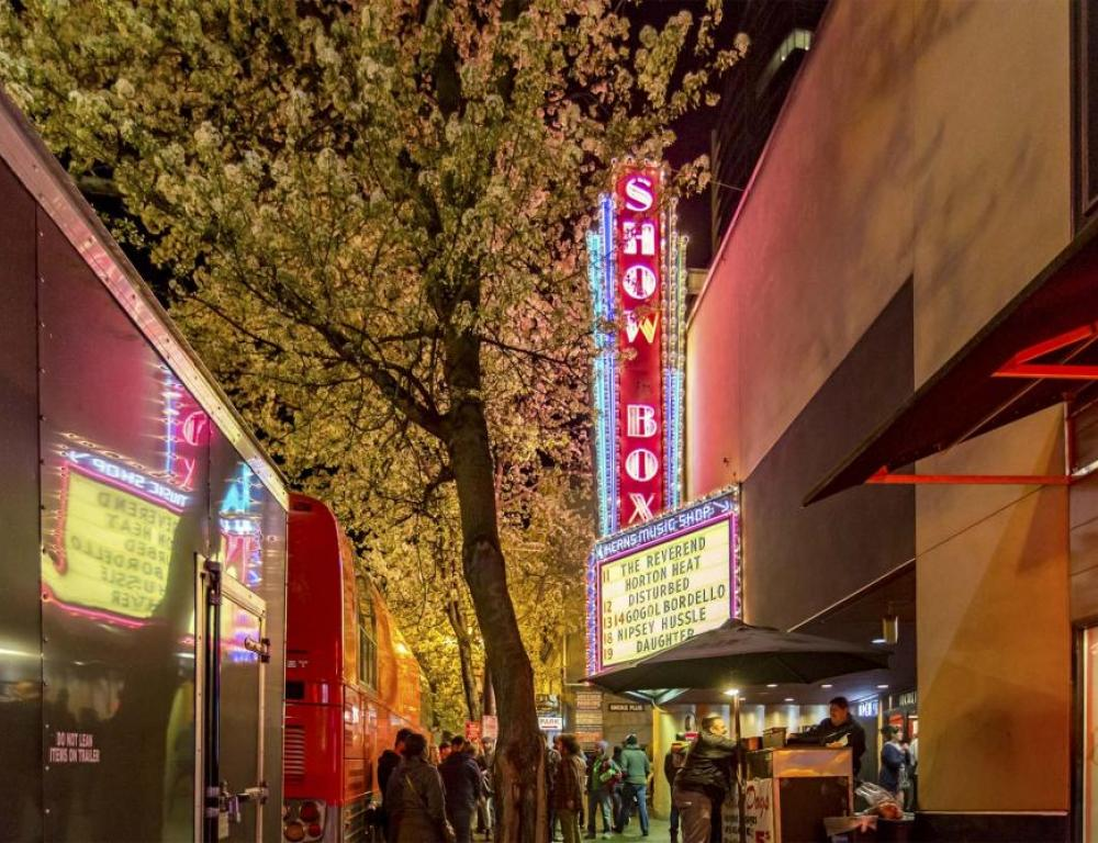 The Showbox Marquee at night
