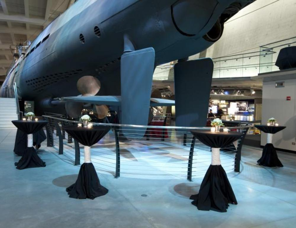 Cocktail beside a submarine int he U505 exhibit